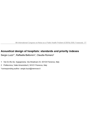 ACOUSTICAL DESIGN OF HOSPITALS: STANDARDS AND PRIORITY